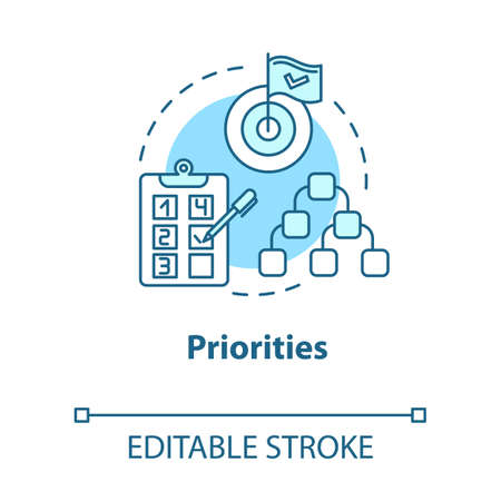 Priorities concept icon. Self-building and development. Taking on opportunities. Goal setting idea thin line illustration. Vector isolated outline RGB color drawing. Editable stroke Ilustrace