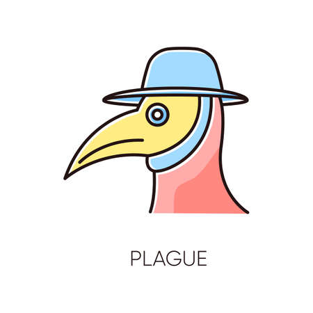 Plague RGB color icon. Endemic viral illness, dangerous infectious disease, contagious sickness. Medical diagnosis, healthcare and medicine. Medieval doctor mask isolated vector illustration