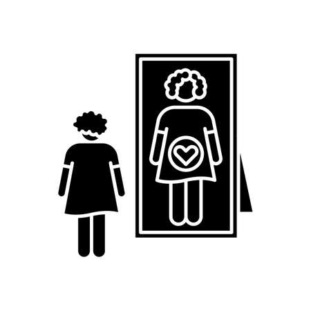 Intuitive feeling black glyph icon. Early sign of pregnancy. Woman awaiting for baby. Lady looking in mirror. Anticipation to give birth. Silhouette symbol on white space. Vector isolated illustration Vettoriali