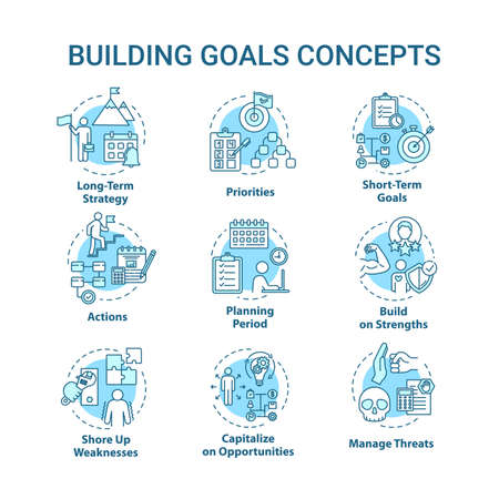 Building goals concept icons set. Setting target to achieve. Managing threat. Self-development idea thin line RGB color illustrations. Vector isolated outline drawings. Editable stroke