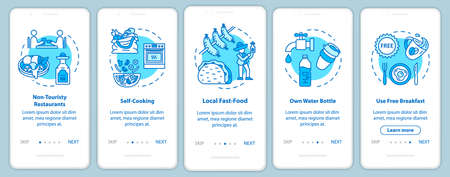 Eat onboarding mobile app page screen with concepts. Local shop. Cooking meal. Cheap tourism walkthrough five steps graphic instructions. UI vector template with RGB color illustrations Illusztráció
