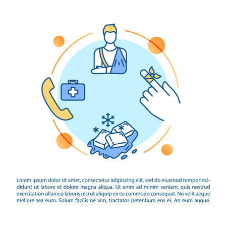Injury first aid concept icon with text. Bone and cartilage fracture treatment recommendations PPT page vector template. Brochure, magazine, booklet design element with linear illustrations Ilustracja