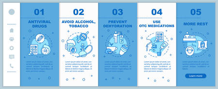 Influenza virus onboarding vector template. Prevent dehydration. Wear surgical mask. Healthcare. Responsive mobile website with icons. Webpage walkthrough step screens. RGB color concept