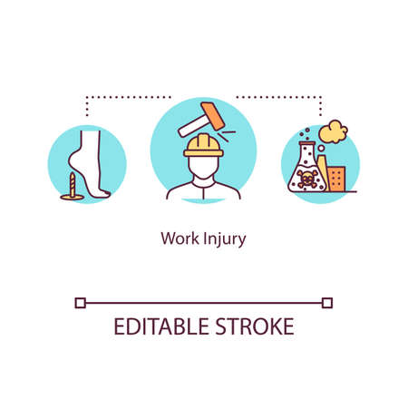 Work injury, industrial traumatism concept icon. Adverse working conditions, traumas and intoxication idea thin line illustration. Vector isolated outline RGB color drawing. Editable stroke