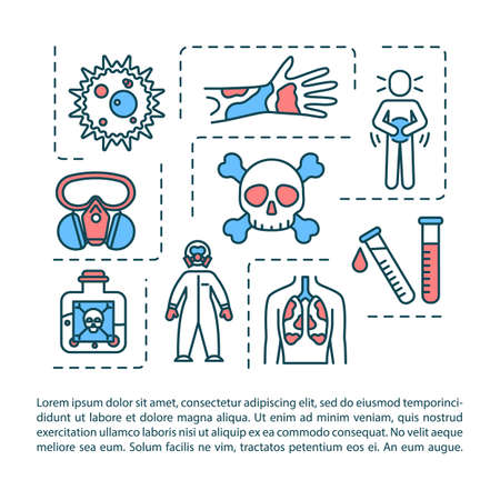 Radiation poisoning concept icon with text. intoxication, Toxic substance effect, human organism harm PPT page vector template. Brochure, magazine, booklet design element with linear illustrations Ilustracja