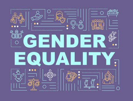 Gender equality word concepts banner. Social inequality. Discrimination. Human rights. Infographics with linear icons on purple background. Isolated typography. Vector outline RGB color illustration