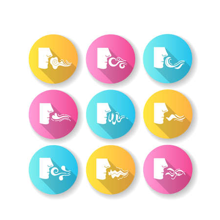 Nose smelling scent flat design long shadow glyph icons set. Person sniffing good and bad odor. Evaporation flow. Perfume odour. Aromatic fragrance. Fume swirls. Silhouette RGB color illustration