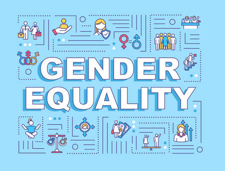 Gender equality word concepts banner. Social inequality. Sex discrimination. Human rights. Infographics with linear icons on blue background. Isolated typography. Vector outline RGB color illustration Иллюстрация