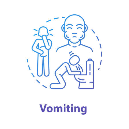 Vomiting concept icon. Person unwell. Stomach poisoning. Puking from hangover. Gastritis and nausea. Flu symptom idea thin line illustration. Vector isolated outline RGB color drawing
