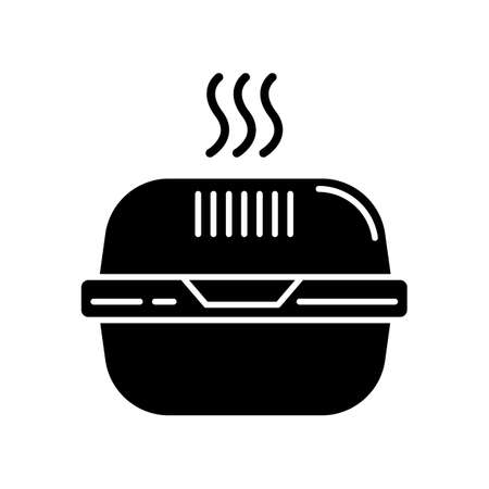 Burger box black glyph icon. Fast food takeout container. Takeaway thermo packaging. Plastic lunchbox for hot meal, hamburger. Silhouette symbol on white space. Vector isolated illustration Illustration