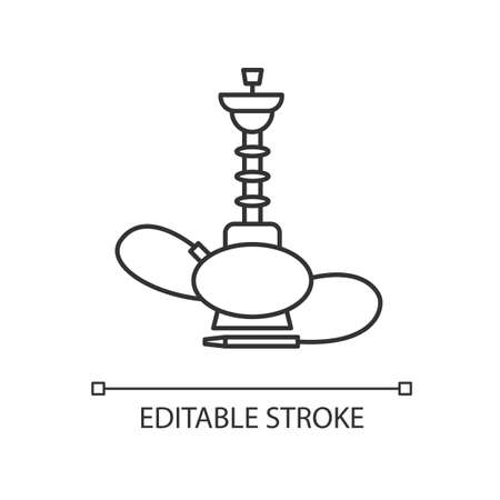 Hookah pixel perfect linear icon. Sheesha house. Glass sphere base. Popular nargile lounge. Thin line customizable illustration. Contour symbol. Vector isolated outline drawing. Editable stroke Illustration