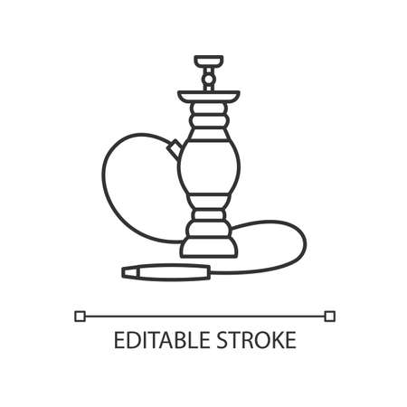 Hookah pixel perfect linear icon. Sheesha house. Smoke pipe and relax indoors. Thin line customizable illustration. Contour symbol. Vector isolated outline drawing. Editable stroke
