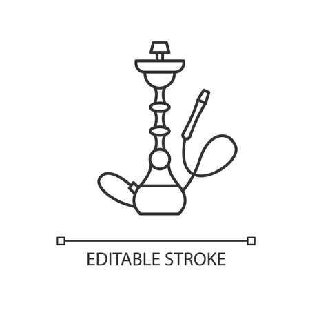 Hookah pixel perfect linear icon. Sheesha house. Minimalistic object. Nargile lounge. Thin line customizable illustration. Contour symbol. Vector isolated outline drawing. Editable stroke Illustration