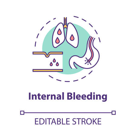 Internal bleeding concept icon. Disease symptom, injury result. Hemorrhage, circulatory disturbance idea thin line illustration. Vector isolated outline RGB color drawing. Editable stroke