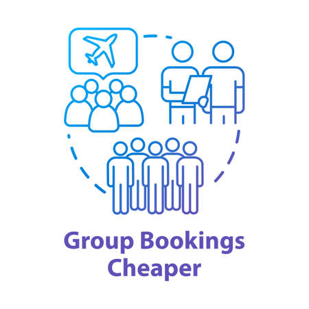 Group booking cheaper concept icon. Collective tour reservation discounts, money saving travel idea thin line illustration. Tourists traveling together vector isolated outline RGB color drawing