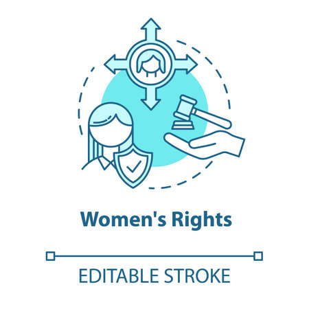 Womens rights turquoise concept icon. Gender justice. Sex discrimination. Women empowerment. Feminist movement idea thin line illustration. Vector isolated outline RGB color drawing. Editable stroke
