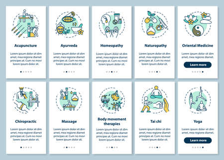 Complementary therapies onboarding mobile app page screen with concepts set. Alternative medicine types walkthrough five steps graphic instructions. UI vector template with RGB color illustrations