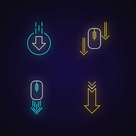 Computer mouse and arrowheads neon light icons set. Scrolling down and uploading indicators. Website page cursor. Signs with outer glowing effect. Vector isolated RGB color illustrations Vetores