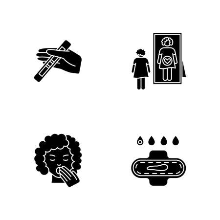 Early pregnancy symptom black glyph icons set on white space. Positive test for pregnant woman. Intuitive feeling of caring baby. Slight bleeding. Silhouette symbols. Vector isolated illustration