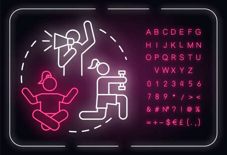 Female affirmation neon light concept icon. Empowerment. Inspiration, motivation. Personal growth idea. Outer glowing sign with alphabet, numbers and symbols. Vector isolated RGB color illustration