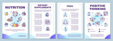 Healthy lifestyle brochure template. Complementary medicine flyer, booklet, leaflet print, cover design with linear icons. Vector layouts for magazines, annual reports, advertising posters