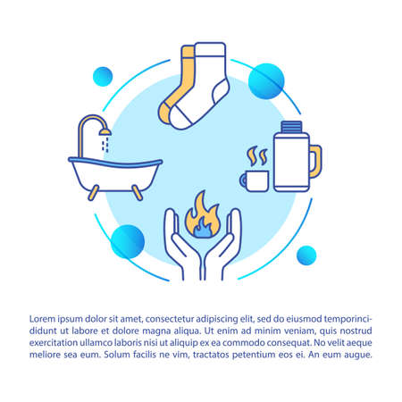 Human body heating ways concept icon with text. Warm drink and bath, frostbite therapy recommendations PPT page vector template. Brochure, magazine, booklet design element with linear illustrations 일러스트