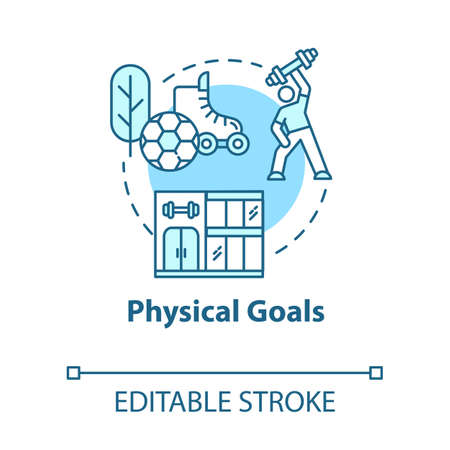 Physical goals concept icon. Active lifestyle. Muscular athlete. Sport workout. Self-development idea thin line illustration. Vector isolated outline RGB color drawing. Editable stroke