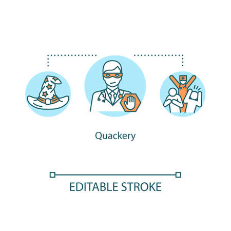 Quackery concept icon. Health fraud idea thin line illustration. Dishonest practice. Fraudulent, untested treatment. Questionable diagnosis. Vector isolated outline RGB color drawing. Editable stroke Stock Illustratie