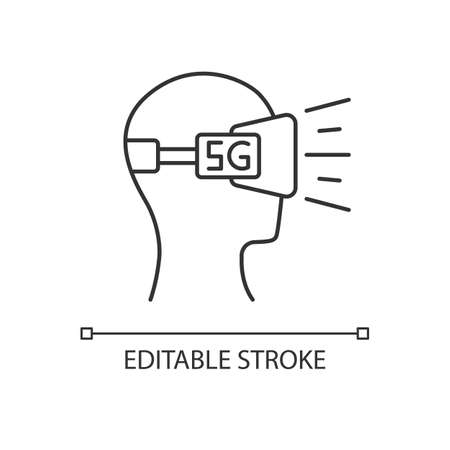 VR headset pixel perfect linear icon. Virtual reality glasses. 5G cellular mobile network. Thin line customizable illustration. Contour symbol. Vector isolated outline drawing. Editable stroke