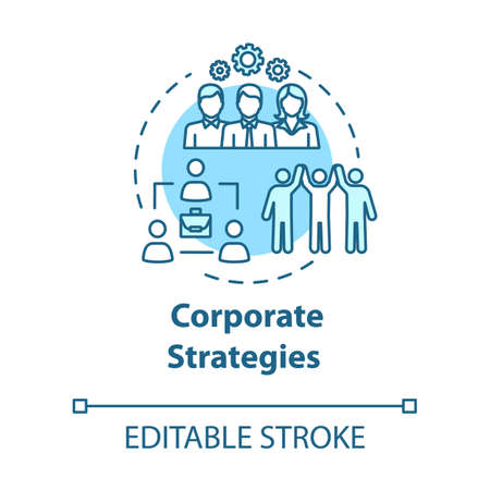 Corporate strategies concept icon. Efficient perfomance Progress from collaboration. Building company idea thin line illustration. Vector isolated outline RGB color drawing. Editable stroke