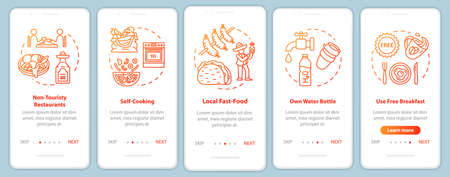 Cheap food onboarding mobile app page screen, concepts. Street vendors. University canteens. Inexpensive trip walkthrough five steps graphic instructions. UI vector template, RGB color illustrations Illustration