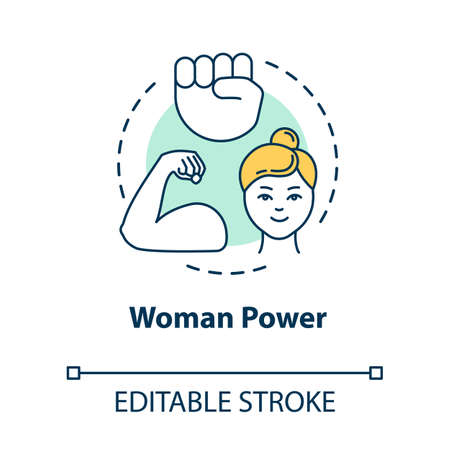 Woman power concept icon. Feminist movement. Feminism. Empowerment. Gender equality idea thin line illustration. Vector isolated outline RGB color drawing. Editable stroke