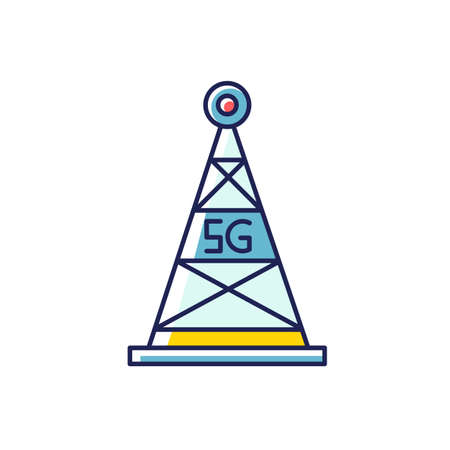 5G cell tower RGB color icon. Antenna signal. Wireless technology. Fast Internet connection. Mobile cellular network coverage. Telecommunications. Isolated vector illustration