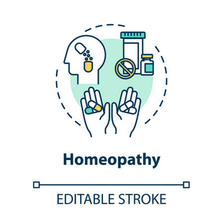 Homeopathy concept icon. Alternative medicine, complementary therapy idea thin line illustration. Homoeopathy, pseudoscientific treatment. Vector isolated outline RGB color drawing. Editable stroke Illustration