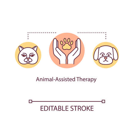 Animal-assisted therapy concept icon. Emotional support idea thin line illustration. Pet therapy. Complementary medicine. Vector isolated outline RGB color drawing. Editable stroke