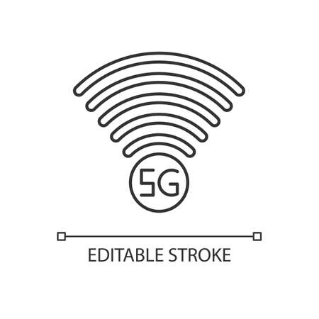 5G signal indicator pixel perfect linear icon. Internet connection quality. Mobile network. Thin line customizable illustration. Contour symbol. Vector isolated outline drawing. Editable stroke