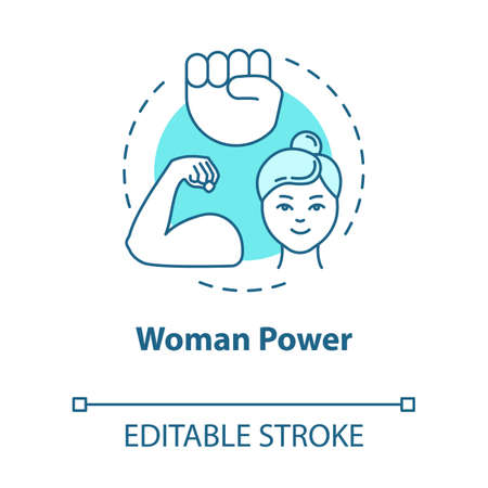 Woman power turquoise concept icon. Feminist movement. Feminism. Empowerment. Gender equality idea thin line illustration. Vector isolated outline RGB color drawing. Editable stroke Ilustração