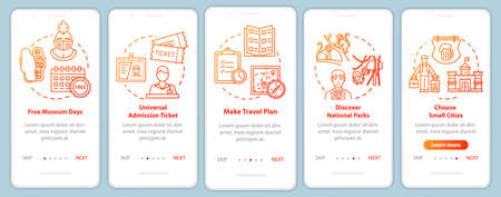 Free excursions onboarding mobile app page screen with concepts. Trip plan. Museum pass. Budget tourism walkthrough five steps graphic instructions. UI vector template with RGB color illustrations