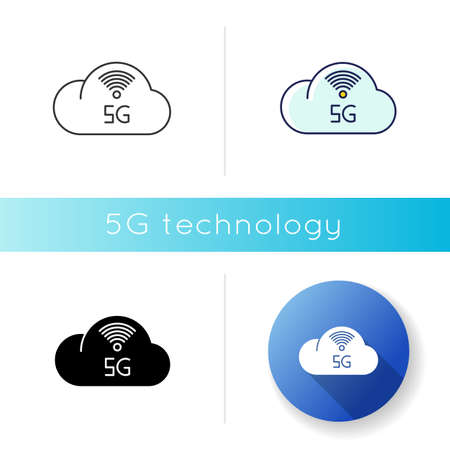5G cloud service icon. Cloud computing. Remote workforce. Network storage. Wireless technology. Fast connection. Linear black and RGB color styles. Isolated vector illustrations