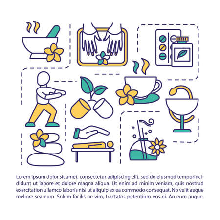Spa therapy procedures concept icon with text. Relaxation, massage. Aromatherapy. PPT page vector template. Brochure, magazine, booklet design element with linear illustrations Illustration