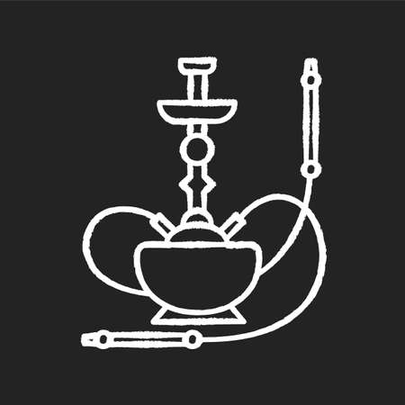 Hookah chalk white icon on black background. Sheesha house. Cultural qalyan. Nargile lounge. Odor from pipe. Scent of vaporizing. Smoking area. Isolated vector chalkboard illustration