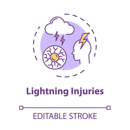 Lightning injuries, traumatism natural factor concept icon. Trauma cause, electric discharge, thunderbolt idea thin line illustration. Vector isolated outline RGB color drawing. Editable stroke