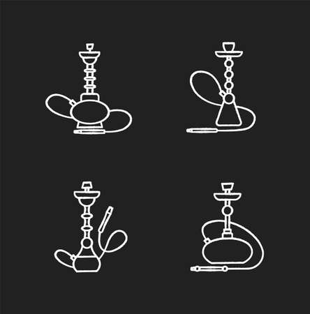 Hookah chalk white icons set on black background. Amusement with friends. Sheesha house. Nargile lounge. Odor from pipe. Scent of vaporizing. Smoking area. Isolated vector chalkboard illustrations