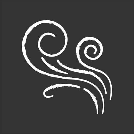 Wind whirl chalk white icon on black background. Cold fresh air swirl. Whirlwind. Good smell, evaporation. Aromatic fragrance. Blowing wind spirals, fume. Isolated vector chalkboard illustration Vecteurs