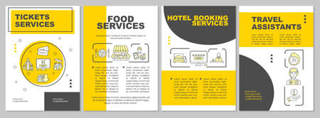 Trip amenities brochure template. Booking and catering. Cheap tourism. Flyer, booklet, leaflet print, cover design with linear icons. Vector layouts for magazines, annual reports, advertising posters