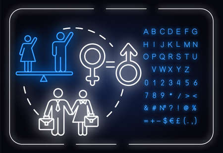 Gender equality neon light concept icon. Womens empowerment. Human rights. Feminist movement idea. Outer glowing sign with alphabet, numbers and symbols. Vector isolated RGB color illustration