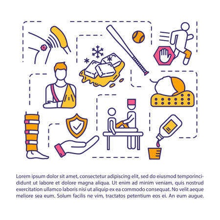 Sports injury treatment concept icon with text. Athletic trauma first aid and therapy PPT page vector template. Brochure, magazine, booklet design element with linear illustrations