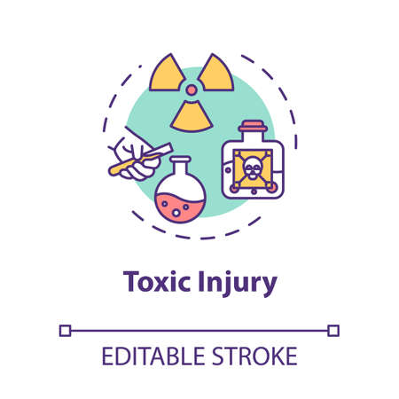 Toxic injury, poisonous substance influence result concept icon. Traumatism, radiation, radioactive material action thin line illustration. Vector isolated outline RGB color drawing. Editable stroke