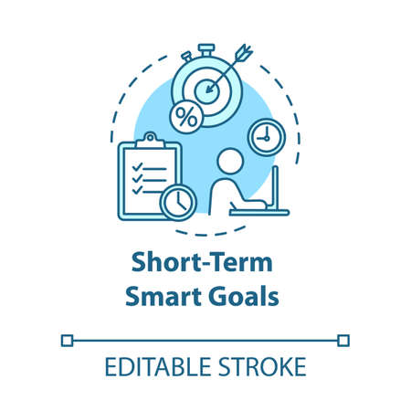 Short-term smart goals concept icon. Taking opportunities for project. Building business. Planning idea thin line illustration. Vector isolated outline RGB color drawing. Editable stroke Иллюстрация