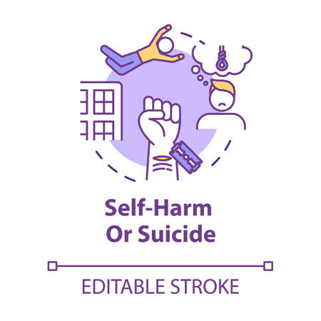 Self-harm, suicide, injury psychological factor concept icon. Depression, mental problem, disease idea thin line illustration. Vector isolated outline RGB color drawing. Editable stroke Vettoriali